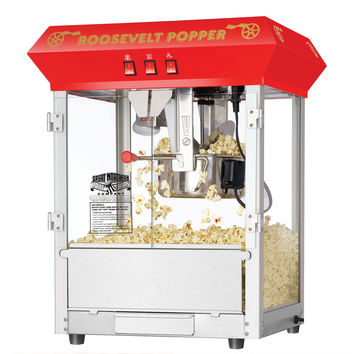 """Red Bar Style """"Roosevelt"""" 8 Ounce Antique Popcorn Machine (Red) (25""""H x 21""""W x 18""""D)"""