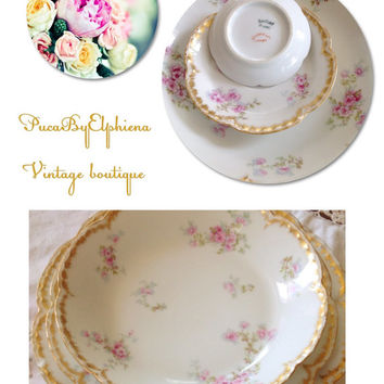 Elegant Haviland Limoges french china set 5 pieces pefect for wedding or bridal party