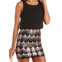 Sequin & Chiffon Blouson Dress by Charlotte Russe - Black Combo