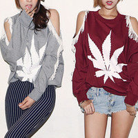 Lace Cutout Shoulder Maple Leaf T-shirt with Long Sleeve
