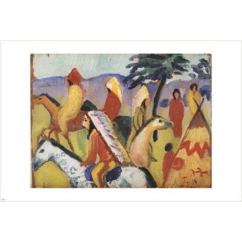 RIDING WITH INDIANS, TENTS august macke VINTAGE art poster MODERN ART 24X36