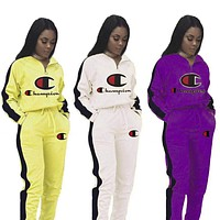 Champion New fashion embroidery letter hooded long sleeve top and pants two piece suit women