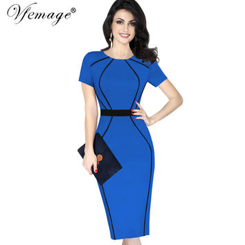 Vfemage Women Elegant Colorblock Contrast Patchwork Short Sleeve 2017 Slim Tunic Wear to Work Office Business Bodycon Dress 6430