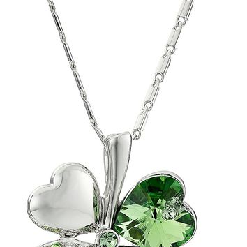 Four Leaf Clover Heart Shaped Swarovski Elements Crystal Rhodium Plated Pendant Necklace