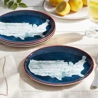 USA MELAMINE PLATE, SET OF 4