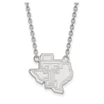 NCAA 14k White Gold Texas Tech U Large Pendant Necklace