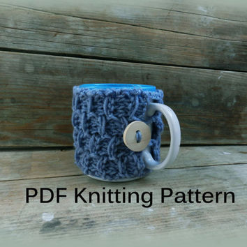 PDF Knitting Pattern/ Coffee mug cozy pattern pdf knit/ Easy Knitting Pattern/ Knit coffee cozy/ Pattern tea cozy/ Easy knit coffee cozy
