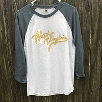Embroidered West Virginia 3/4 Length Shirt - Unisex Fit