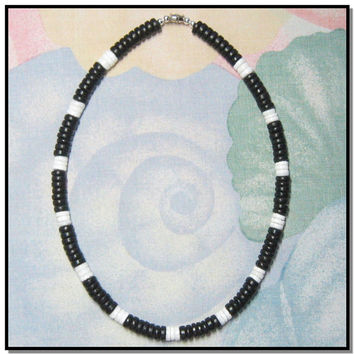 Black Coco Smooth White Clam Puka Heishi Shell Necklace 20""