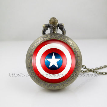 Captain America Pocket Watch,Captain America Shield Necklace,the avengers superhero Locket necklace,Pocket Watch,style 2