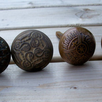 Four Ornate Brass Door Knobs Victorian style by MargsMostlyVintage