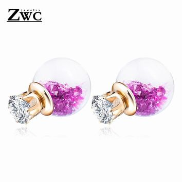 ZWC Fashion Simple Glass Ball Double Sided Bead Stud Earrings for Women and Girls Wedding Romantic Crystal Earring Jewelry Gift