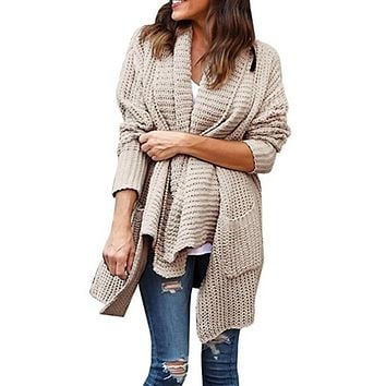 Lapel Pockets Irregular Split Oversized Split Long Cocoon Cardigan