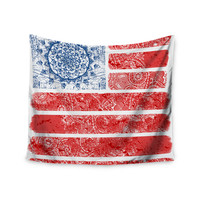 "Victoria Krupp ""Americana Mandala Flag"" Red Holiday Wall Tapestry"