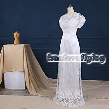Beautiful short sleeves lace and dots tulle wedding dress buttons back,wedding dress without train,unique lace wedding gown reception dress