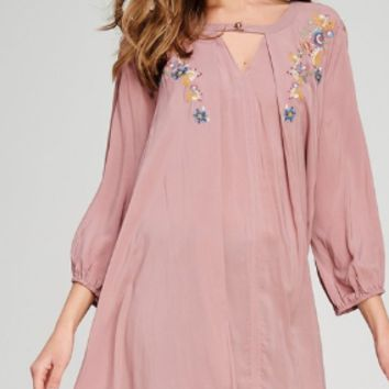 Jodifl Mauve Embroidered Tunic