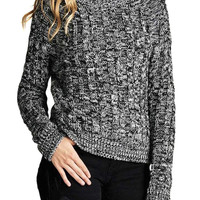 Junior's Long Sleeve Crew Neck Marled Cable Pullover Sweater Top