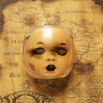 Creepy Baby Doll  Zombie Horror Gothic Candle