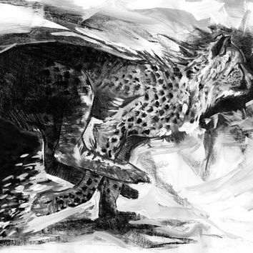 cheetah print, 24x30, charcoal drawing, animal art, black and white art, nature decor, nature art, big cat, african animal, naturalist, art
