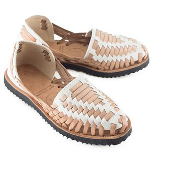 Women's Beige Woven Leather Huarache Sandals