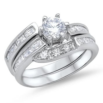 Sterling Silver CZ 1 carat Brilliant Round Cut Bypass Band Wedding Ring Set 5-10