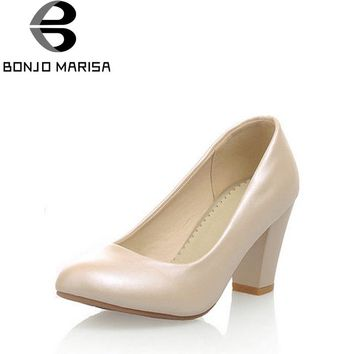 BONJOMARISA Women's Classic Chunky Heel Office Shoes Woman Round Toe Less Platform Pumps Big Size 32-43