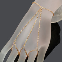 Multi Chain Three Finger Harness Gold Silver Bronze Slave Bracelet