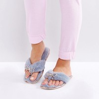 River Island Fluffy Diamante Flip Flop Slippers at asos.com