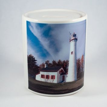 Coin Bank, Ceramic, Sturgeon Point Lighthouse Design
