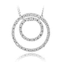 Sterling Silver 1/8ct Diamond Double Circle Necklace, IJ-I3