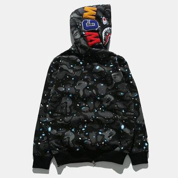 DCCKJH2 Bape Shark Fashion Cardigan Zipper Hoodie Jacket Coat