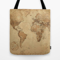 VINTAGE MAP Tote Bag by Oksana Smith