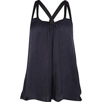 Navy satin strappy swing cami