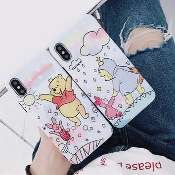 Cartoon Lovely Piglet Pig Happy loving Winnie Pooh Bear for iPhone X 8 7 6 6S Plus Glossy Soft imd Silicone TPU Cover Capa
