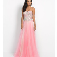 Cotton Candy Pink & Ivory Strapless Sweetheart Beaded Bodice Multi-Color Tulle Gown