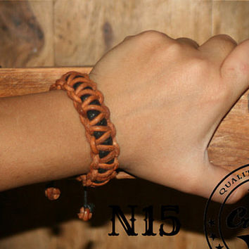 Leather Cord  with Skin Wristband - Braided Bracelet - For women -  Craftive Design -  Custom Size -  Free shipping