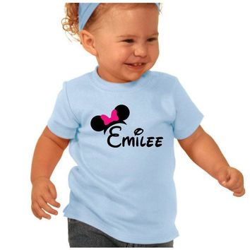 CLEARANCE Colorful BLUE Baby Tee with Disney Theme and Name or Monogram