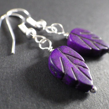 Purple Howlite Leaves- Leaf- Nature- Fairy- Fashion Accessory- Sterling Silver Plated Dangle Earrings- Christmas Stocking Stuffer Gift Idea