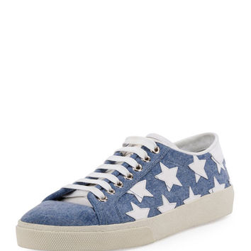 Saint Laurent Court Classic Denim Low Top Sneaker, Washed Blue/Off White Stars