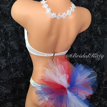 American Flag 4th of July Patriotic Pool Beach Party Daisy Flower Crystal Headband Bikini Booty Veil Set Red White Blue
