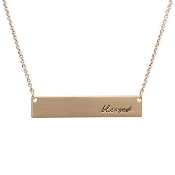 Blessed Message Bar Necklace