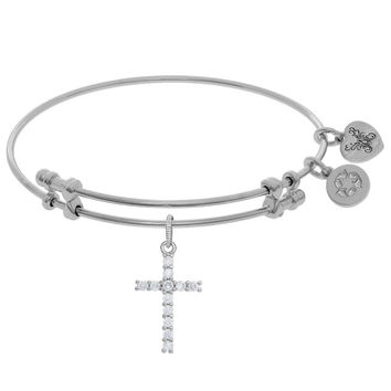 Angelica Collection Brass White CZ Cross Charm  On Bangle