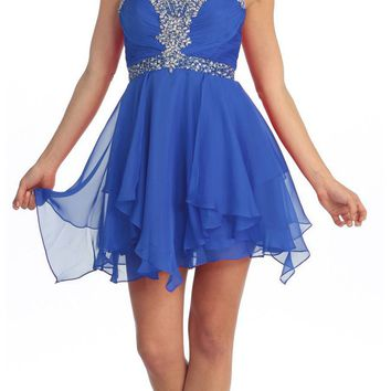 Homecoming Short Royal Blue A Line Dress Sweetheart Rhinestone Empire