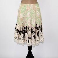 Boho Skirt Women Flared Skirt Lace Embroidered Bohemian Print Midi Skirt Medium Large Boho Clothing Beige Brown Mint Green Womens Clothing