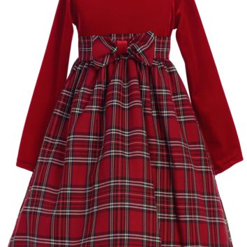 (Sale) 12-18m Red Plaid & Stretch Velvet Long Sleeve Girls Holiday Dress