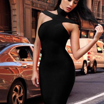 Keaton Black Triangle-Cutouts Bandage Dress