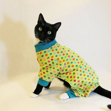CoolCats Lime Green Polka Dot Knit Cat Pajamas