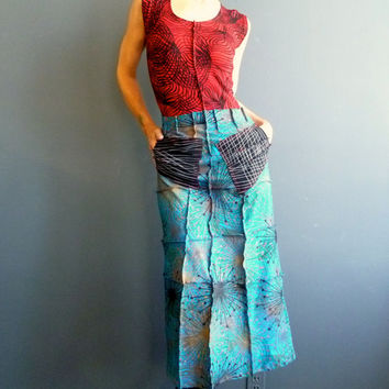 Atomic Flash de Luxe  - iheartfink Handmade Hand Printed Womens Structured Art Print Retro Futuristic Maxi Art Skirt