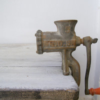 Antique iron Meat Grinder, EDS rusted iron grinder, retro Kitchenware, Kitchen Appliance Tool, Farmhouse, Industrial, Restaurant display