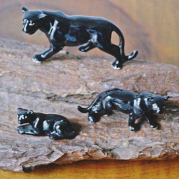 Black Panther Miniature Figurines On Petrified Wood, Vintage Miniatures, Petrified Wood Slab